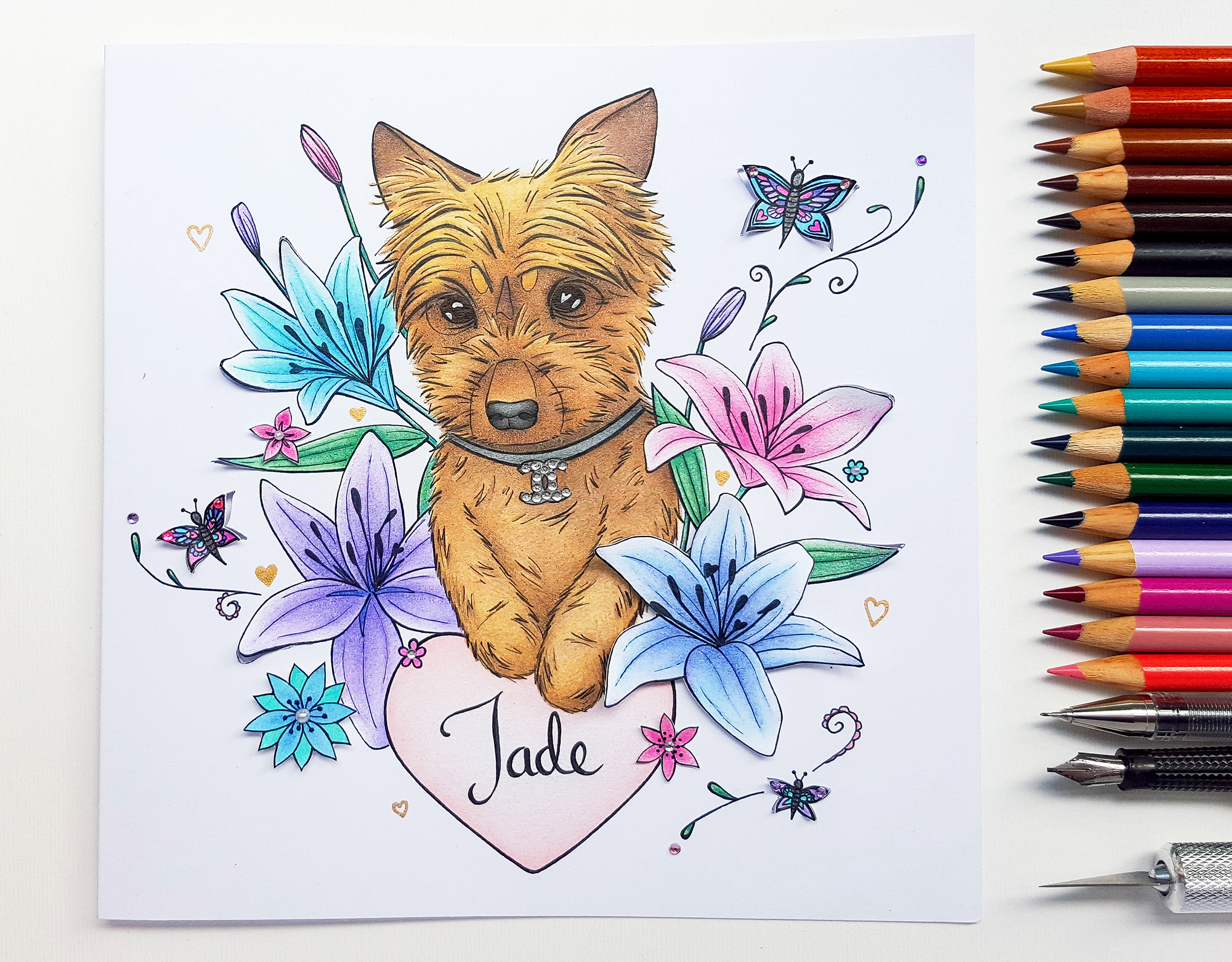 Handmade Bespoke Birthday Card Dog Drawing