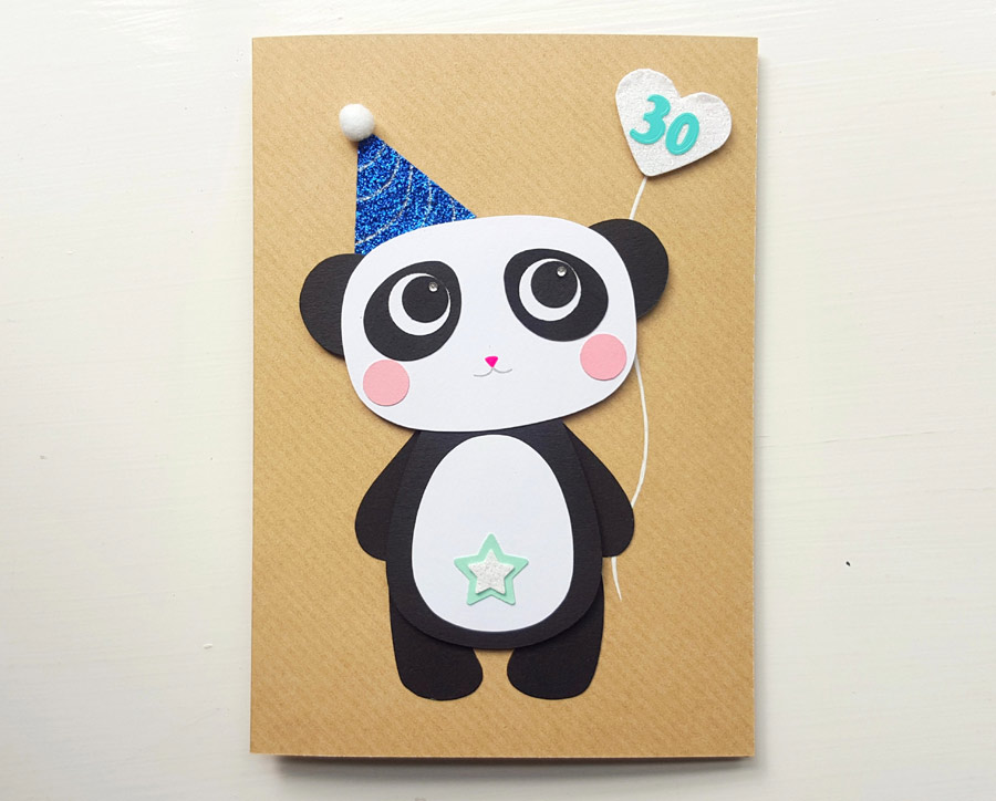 Bespoke Panda Birthday Card 30th Handmade